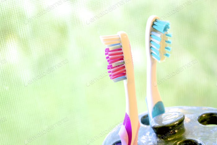 Couple toothbrushes