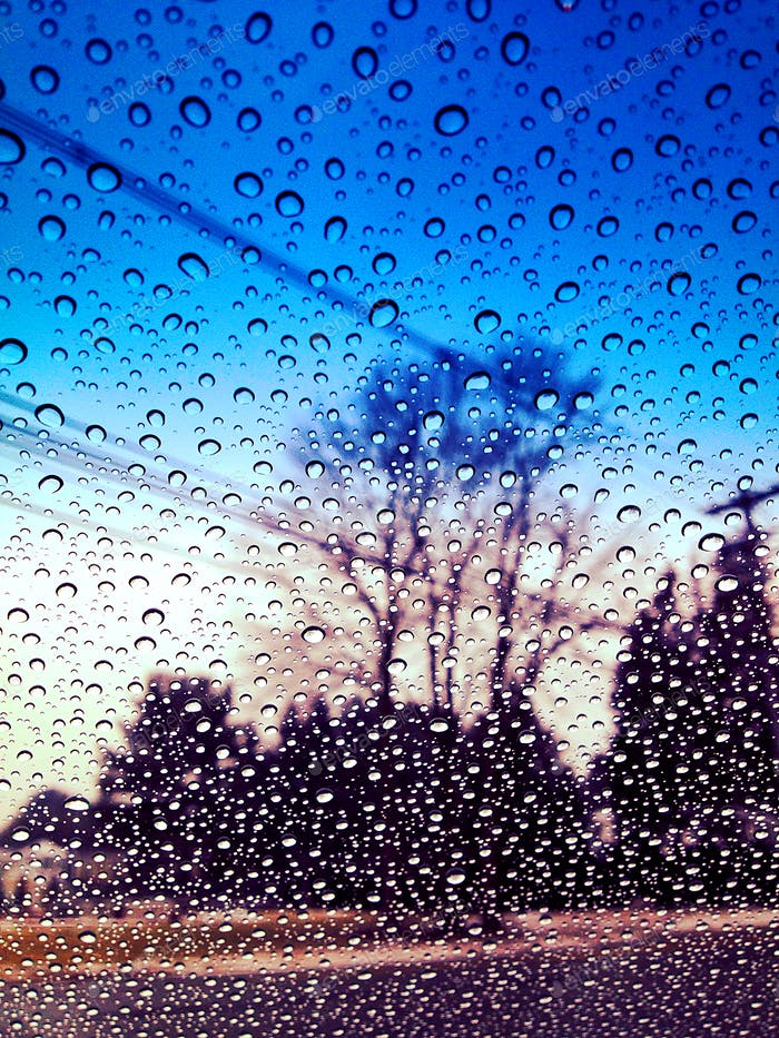 Picture of water droplets on car window