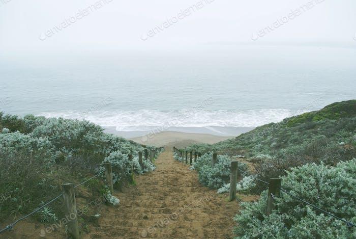 foggy morning on baker beach in San Francisco