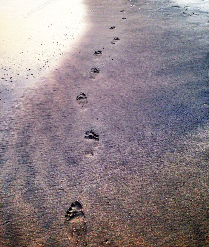 Footsteps on the beach at sunset