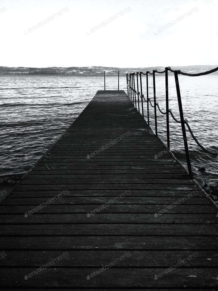 Wooden jetty at sea