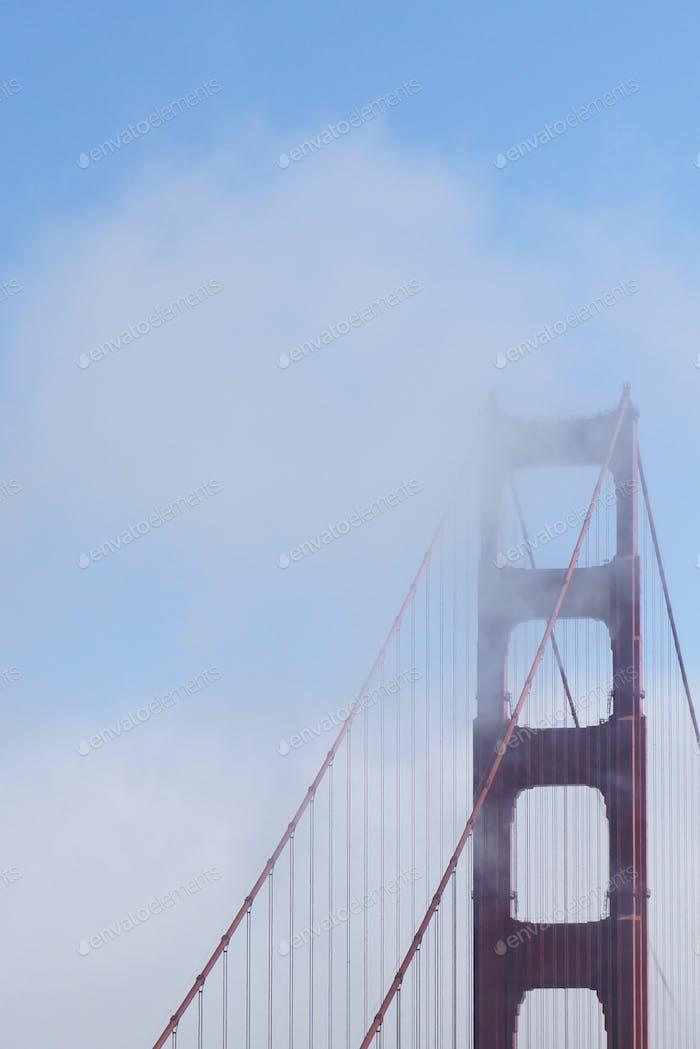 Golden Gate Bridge in clouds landmark San Francisco California