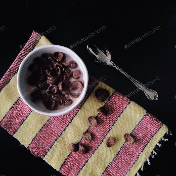 Bowl of chocolate cornflakes