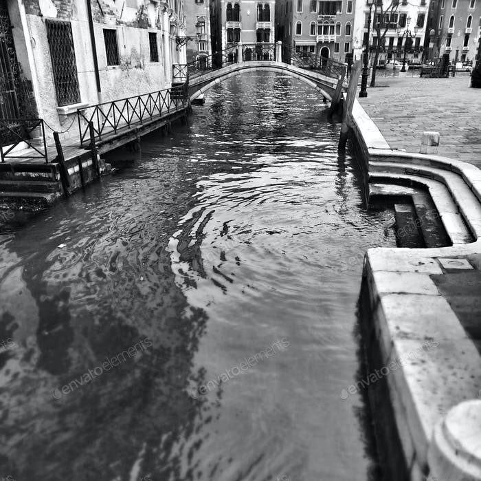 Venice, Italy. Baroque architecture, monuments and street life. Street photography, Black and White
