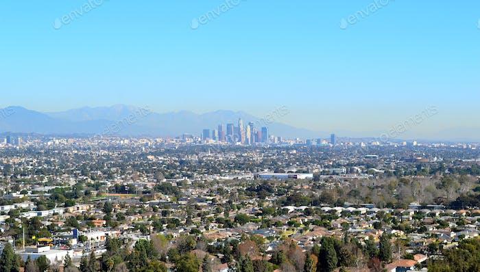 Downtown Los Angeles skyline.