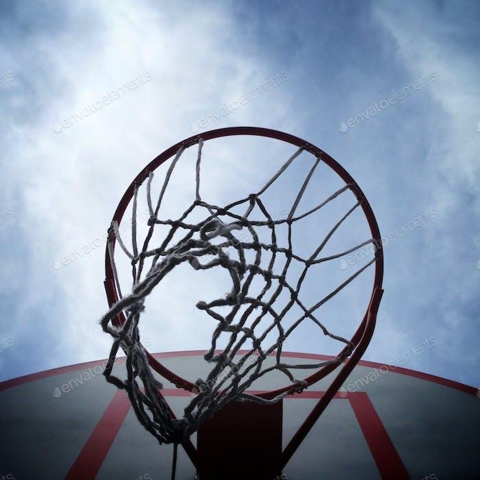 Basketball hoop viewed from below.