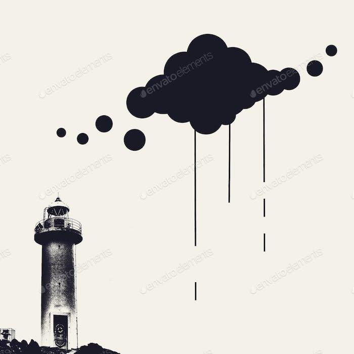 Nube lluviosa. Ilustración y foto.