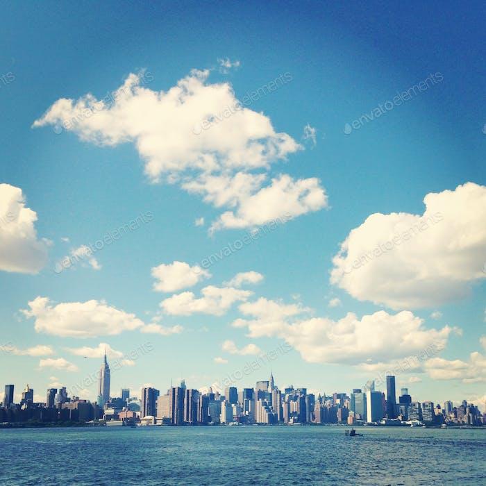Beautiful scene of cityscape and seascape