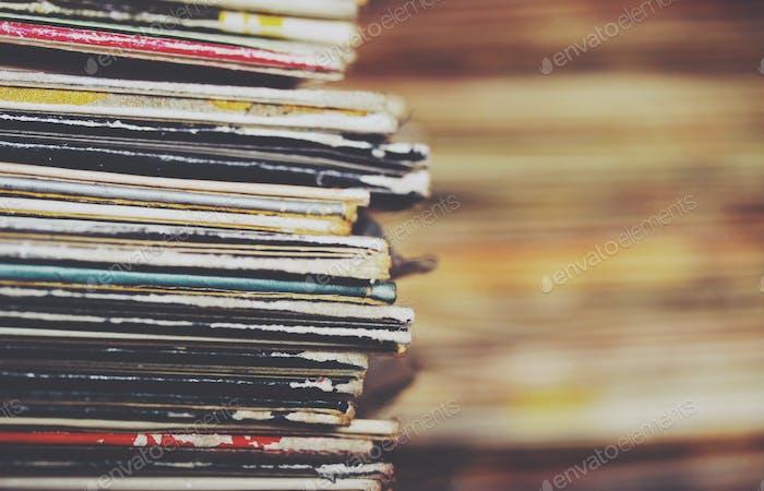 Stack of vinyl albums