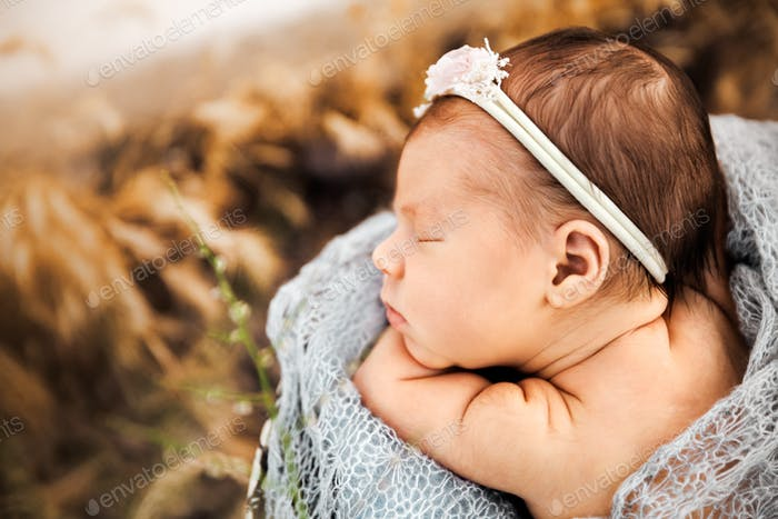 Sleeping newborn baby girl at sunset time, outdoor photography