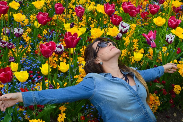 Beautiful place and beautiful woman in spring.
