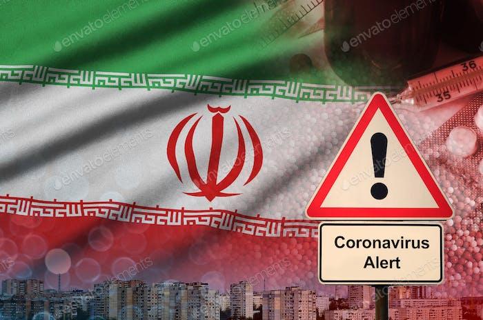 Iran flag and Coronavirus 2019-nCoV alert sign
