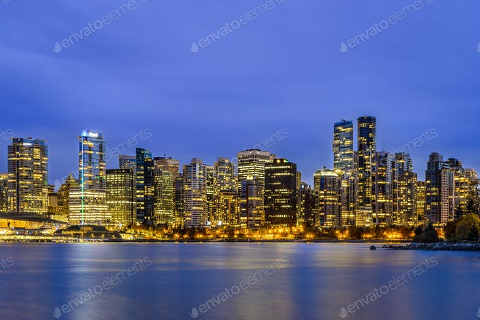 Vancouver at blue hour, BC, British Columbia, Canada
