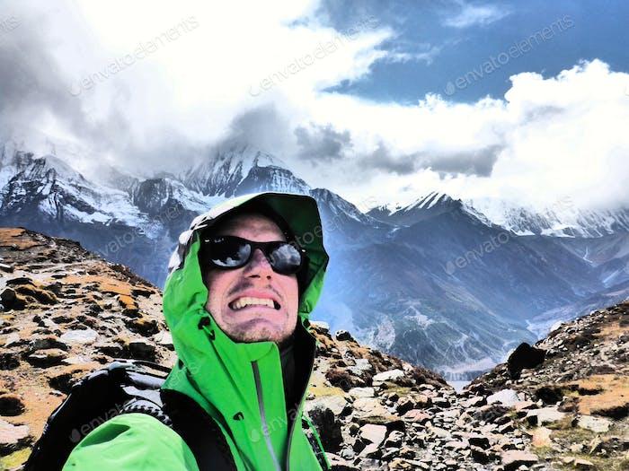 Mountain climbing in the Himalayas. Annapurna Region, Nepal.