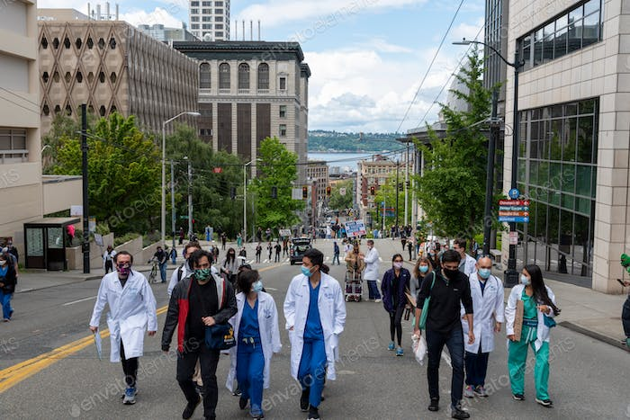 Doctors at protest march