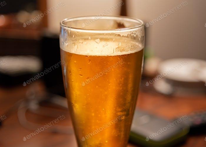 Fresh poured golden ale beer