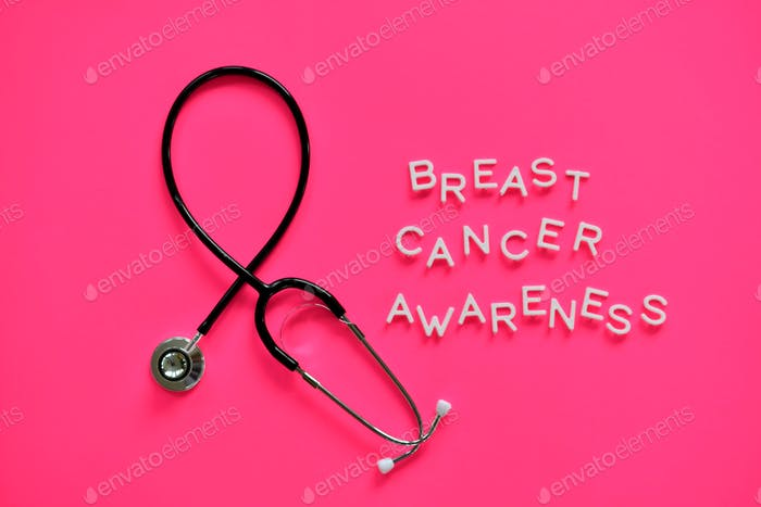 October is Breast Cancer Awareness Month stethoscope shaped into a remembrance awareness ribbon pink