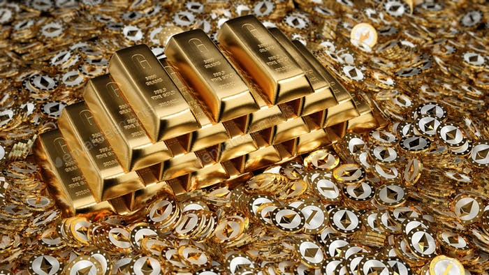 Barras de oro brillante y monedas de Ethereum doradas