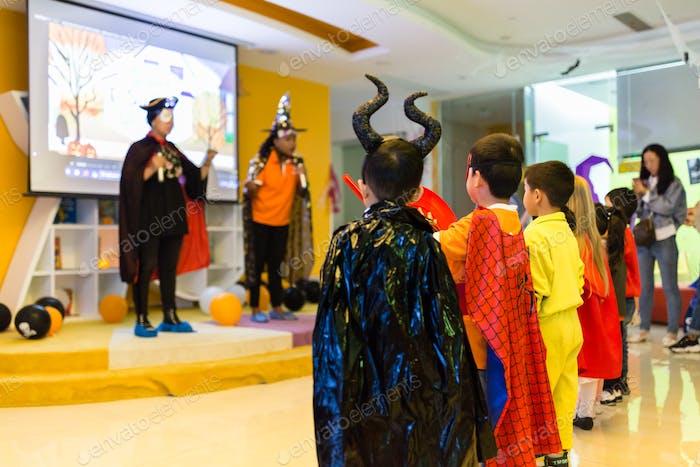Halloween costume party in Chinese kindergarten