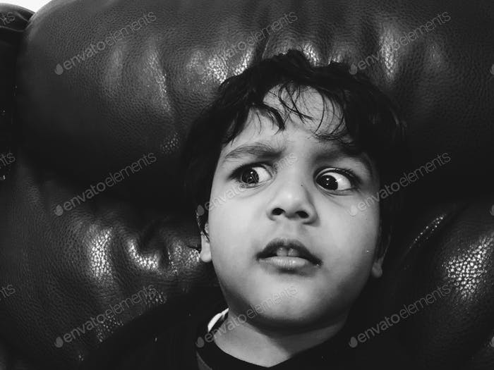 Angry kid in bad mood