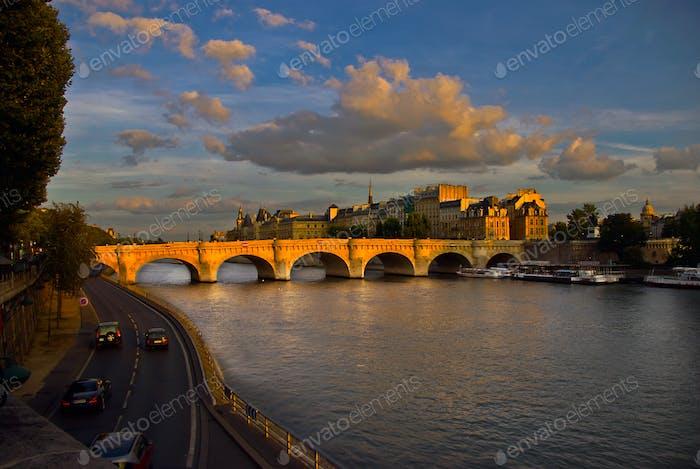 Pont Neuf across the Seine River, Paris France.