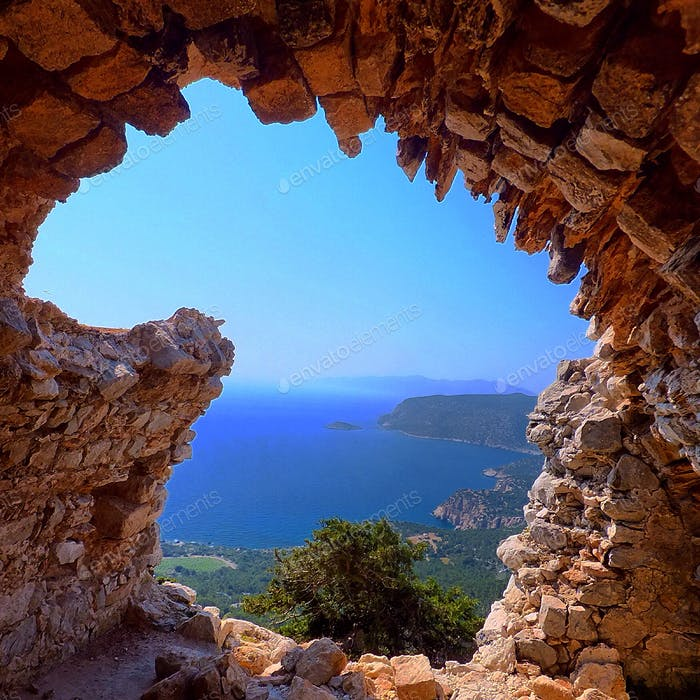 Framed view of Rhodes