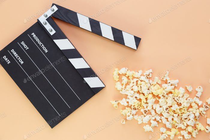 Clapper board and popcorn