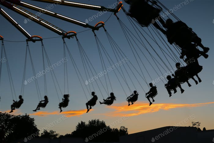 Silhouette, mage, people, riding, swings, carnival, dusk, sundown, sunset, shadow, light, lifestyle,