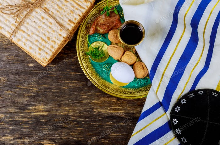 Matzo for Passover with on seder plate on close up