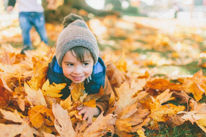 A little boy lying in a big pile of fall leaves.
