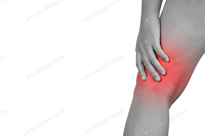 Inflammation colored in red suffering injured leg