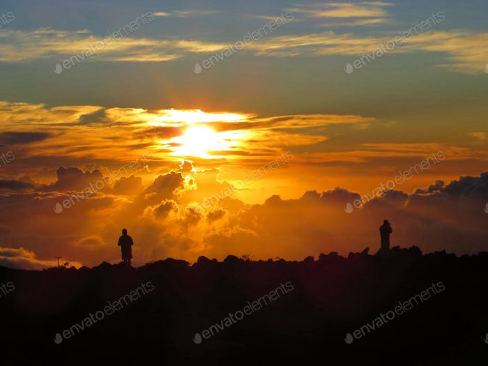 Sunset over a crater in Hawai'i