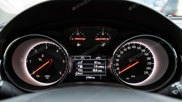 Vehicle front panel with fuel consumption data