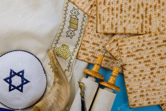 Jüdischer Feiertag Pessach Feier in der Kippa