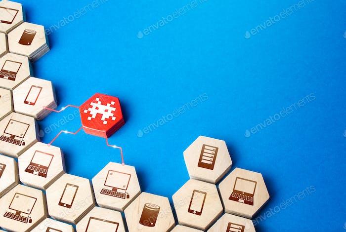 Una figura con un virus infecta una serie de dispositivos de comunicación