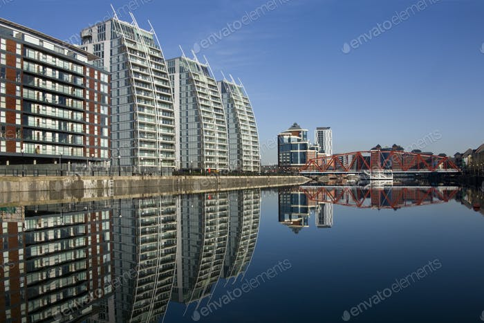 Salford Quays in Greater Manchester in the United Kingdom