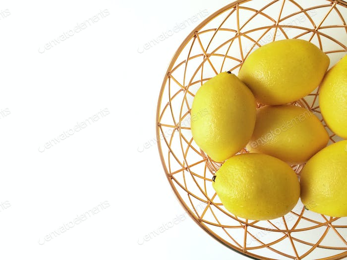 Lemons in fruit basket