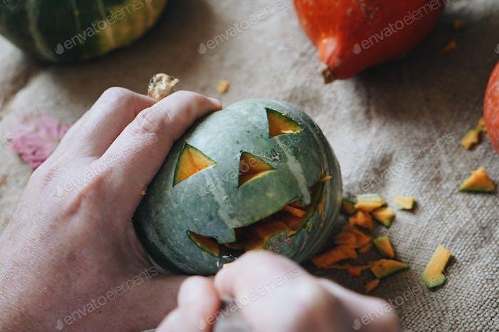Carving pumpkin on Halloween