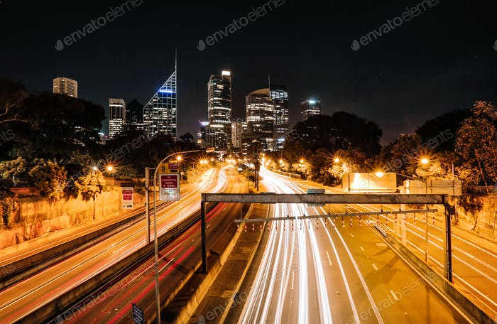 Sydney Business District by night (Australia)