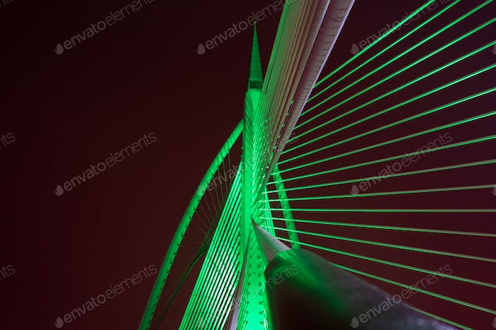 green neon lights against black background