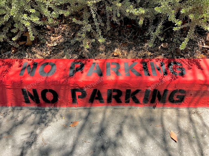 RED curb with black words that say NO PARKING with light and shadow from the trees nearby