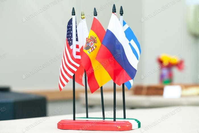 International colored flags . State flags of US, Spanish,Poland,Greece, and the Russia