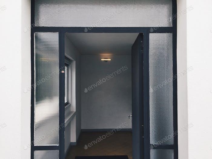 Glass door, modern architecture, entrance, geometric, design