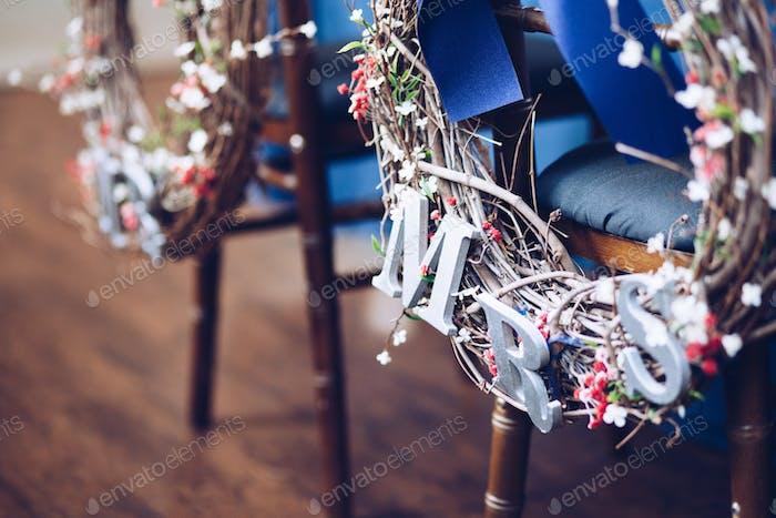 Wedding details. Mr. and Mrs. wreaths