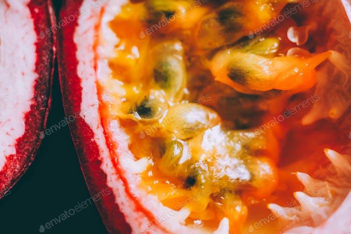 Passion fruit, macro fruit, maracuya fruit