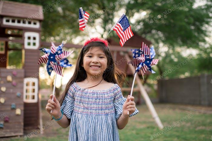 girl in patriotic gear