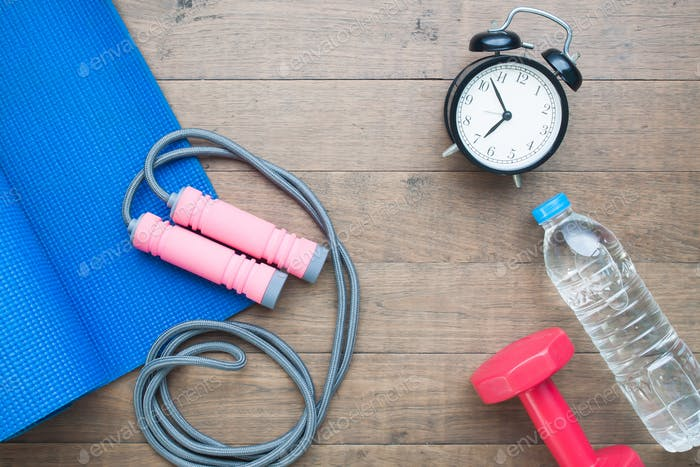 Sport and fitness equipments with alarm clock and water