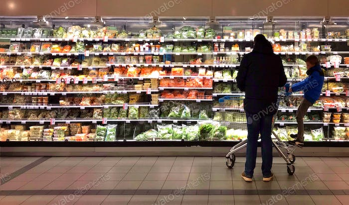 Father and son doing grocery shopping 👨👦 parenting, fatherhood, buying, standing, male, adult, boy,