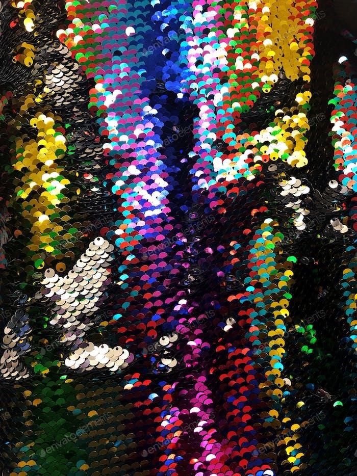 Multicolor Regenbogen glänzend Disco Pailletten Nachtleben Stoff.