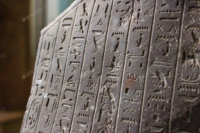Egyptian Rosetta stone with hieroglyphs